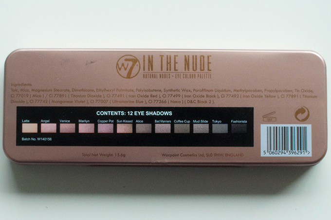 RED REIDING HOOD: Beauty blogger review W7 in the nude palette ingredients make up
