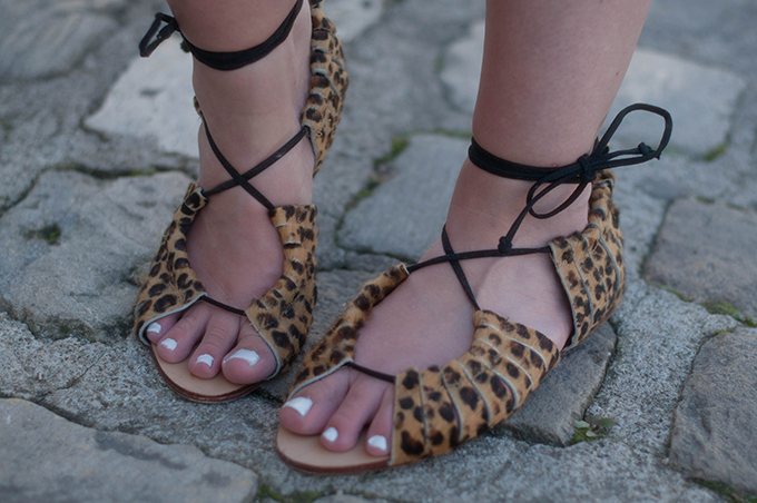 RED REIDING HOOD: Zara leopard ponyhair sandals lace up streetstyle outfit details