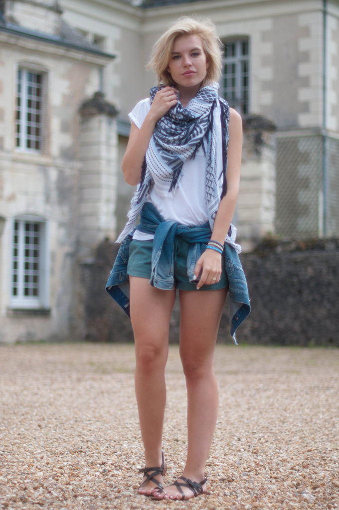 RED REIDING HOOD: Fashion blogger wearing turquoise suede shorts zara scarf streetstyle layers outfit summer look