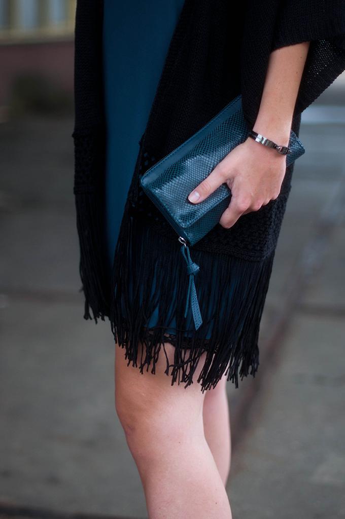RED REIDING HOOD: Fashion blogger wearing fringe kimono primark outfit details lingerie slip dress navy blue
