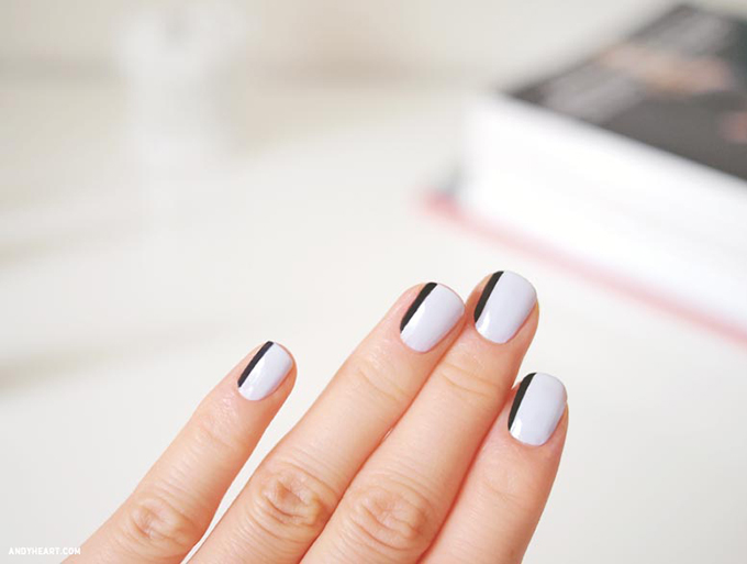 RED REIDING HOOD: DIY black and white nails andyheart minimalistic manicure inspiration pinterest