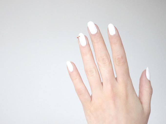 RED REIDING HOOD: DIY pierced nails white love aesthetics minimalistic manicure inspiration pinterest