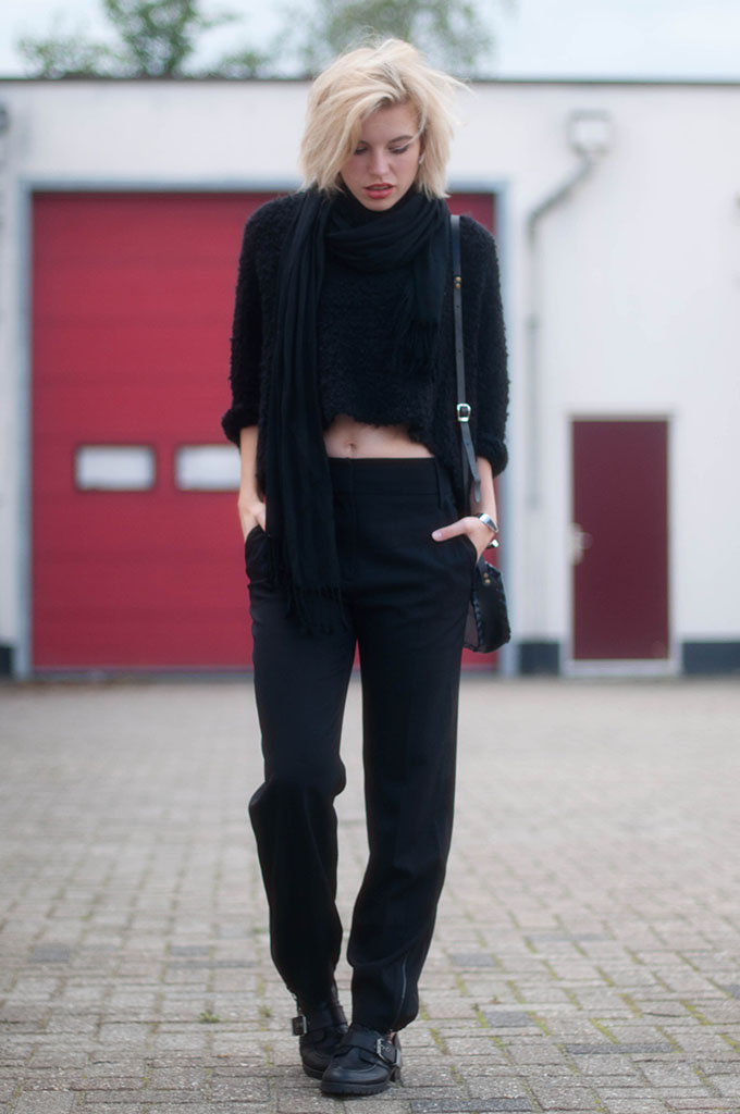 RED REIDING HOOD: All black everything outfit fashion blogger wearing cropped jumper fluffy knit high waisted wide tapered trousers street style