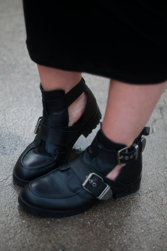 RED REIDING HOOD: Fashion blogger wearing Balenciaga KO buckle boots street style Sacha Shoes outfit details