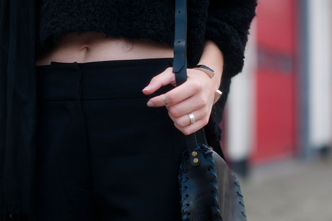 RED REIDING HOOD: Fashion blogger wearing all black everything outfit high waisted pants cropped jumper fluffy knit street style layers