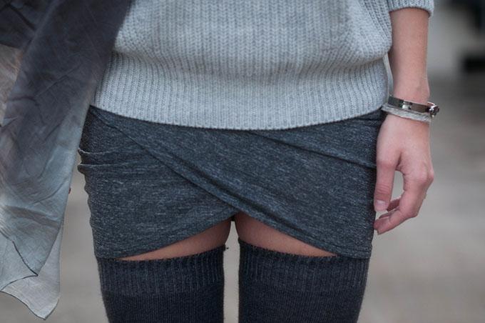 RED REIDING HOOD: Fashion blogger wearing thigh high socks woolen overknees outfit details wrap skirt knitwear