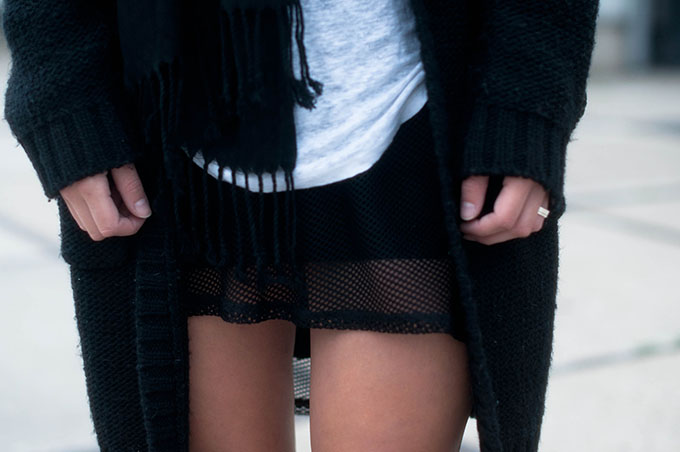RED REIDING HOOD: Fashion blogger wearing heavy knit cardigan outfit mesh dress street style all black everything look
