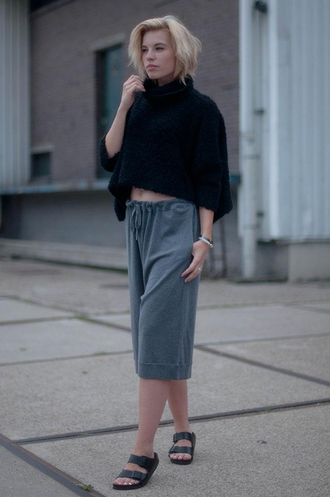 RED REIDING HOOD: Fashion blogger wearing fluffy knit cropped turtleneck street style acne culottes model off duty birkenstock arizona slides