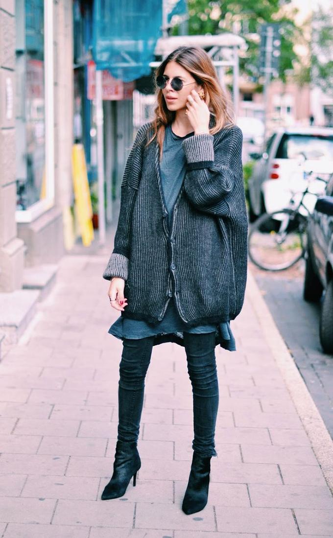 RED REIDING HOOD: Fashion blogger Maja Wyh wearing oversized cardigan street style model off duty look