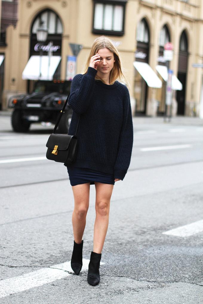 RED REIDING HOOD: Fashion blogger Mija wearing oversized knit street style knitwear Alexander Wang drape skirt