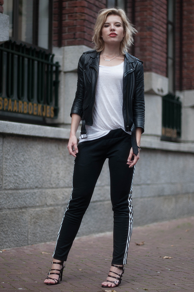 RED REIDING HOOD: Fashion blogger wearing adidas pants heels zara street style sporty chic outfit