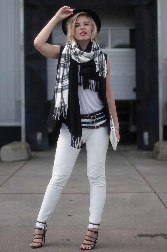 RED REIDING HOOD: Fashion blogger wearing white leather pants street style tartan scarf river island model off duty look black white outfit