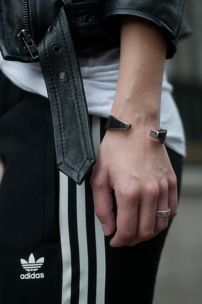 RED REIDING HOOD: Fashion blogger wearing striped adidas pants street style leather motorcycle jacket outfit details