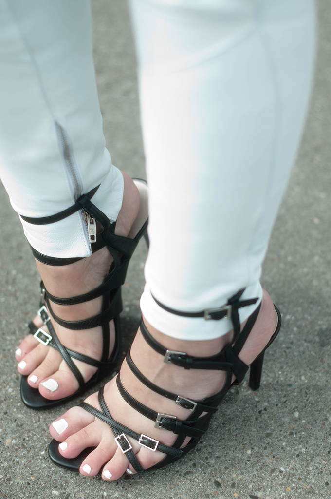 RED REIDING HOOD: Fashion blogger wearing zara strappy sandals outfit details white leather pants street style