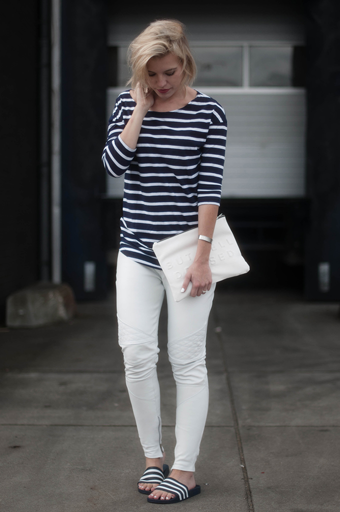 RED REIDING HOOD: Fashion blogger wearing white leather pants street style striped shirt model off duty look