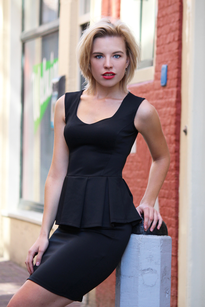 RED REIDING HOOD: Fashion blogger wearing black peplum dress street style The Amazon Mode webshop