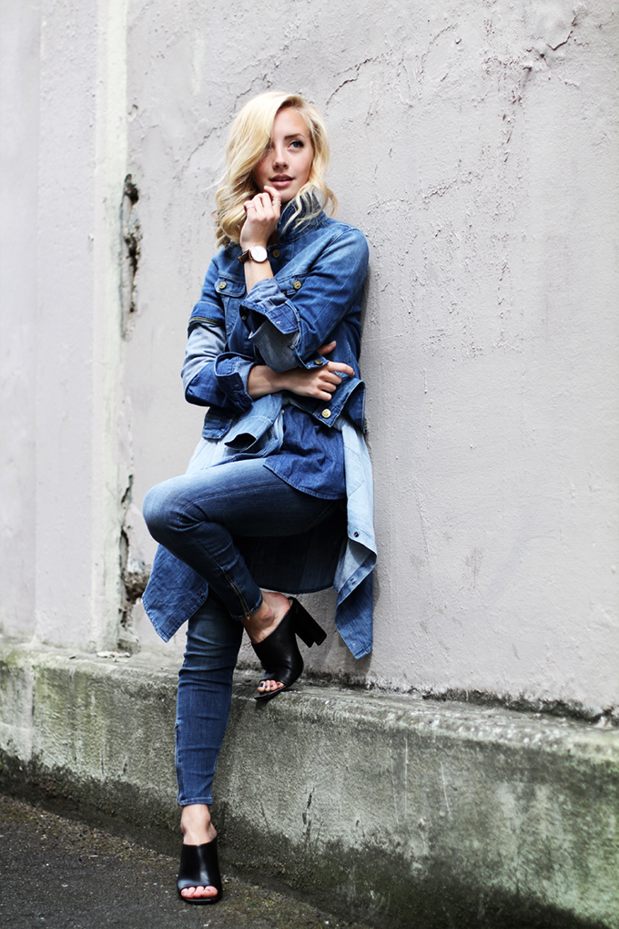 RED REIDING HOOD: Fashion blogger wearing denim on denim outfit layers look layering street style mules