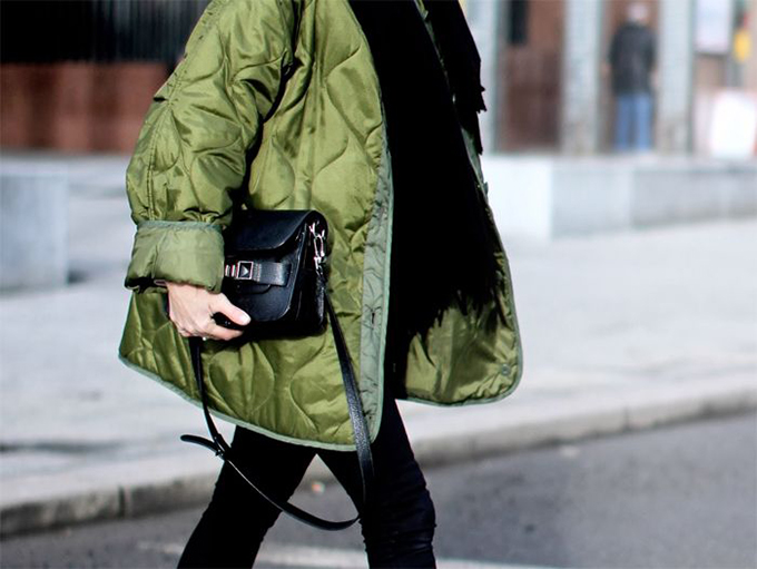 RED REIDING HOOD: Fashion blogger wearing Proenza Schouler PS11 bag street style green coat outfit