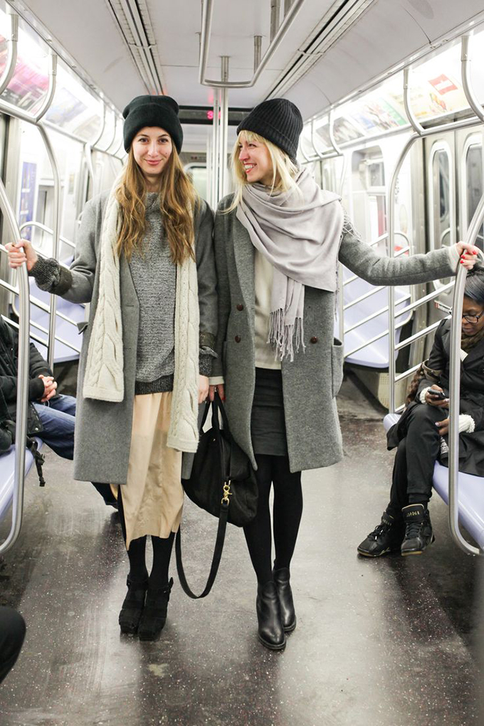 RED REIDING HOOD: blogger NYC subway fashion layering outfit beige grey nude look street style