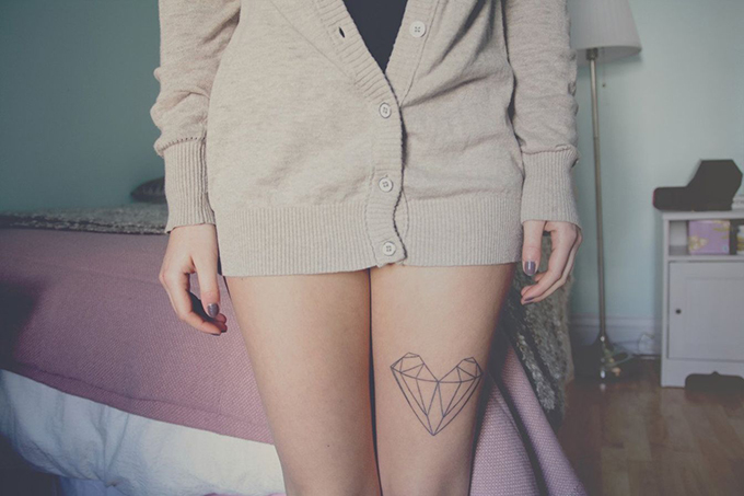 RED REIDING HOOD: Geometric heart tattoo upper leg placement ink inspiration