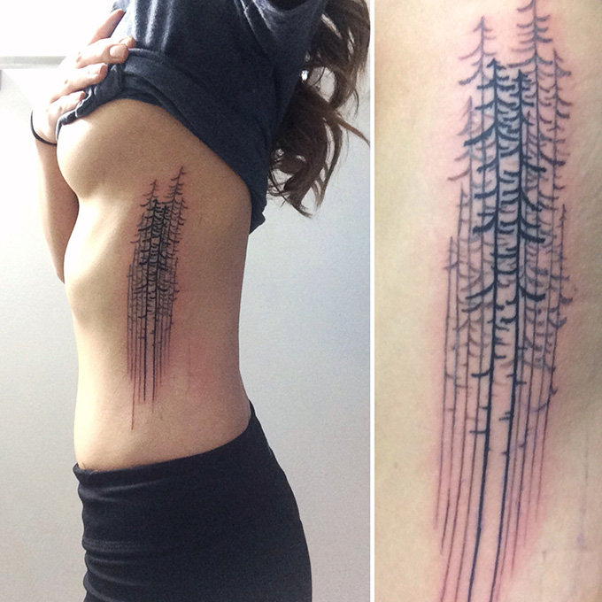 RED REIDING HOOD: Pine trees tattoo side inspiration ink