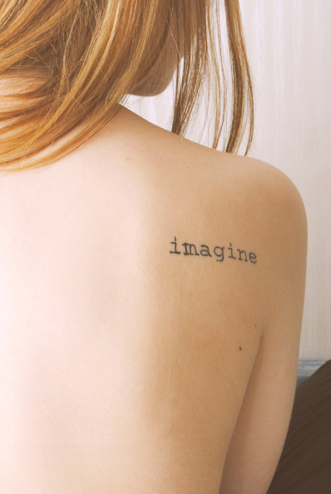 RED REIDING HOOD: Imagine text tattoo shoulder blade ink inspiration words