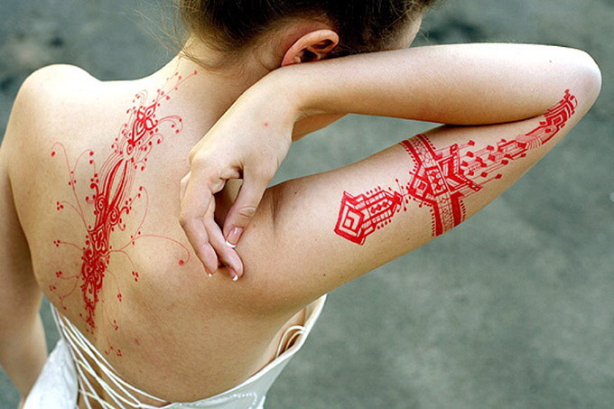RED REIDING HOOD: Red ink tattoo inspiration
