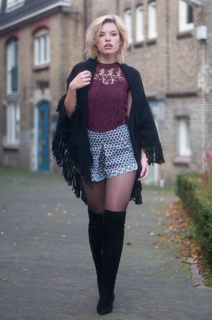 RED REIDING HOOD: Fashion blogger wearing over the knee boots duo boots vespa street style poncho outfit