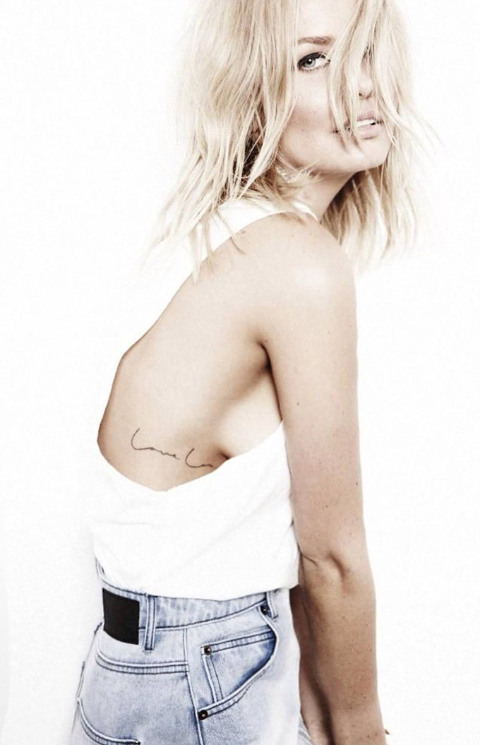 RED REIDING HOOD: Lara Bingle love lou text tattoo side boob placement ink inspiration
