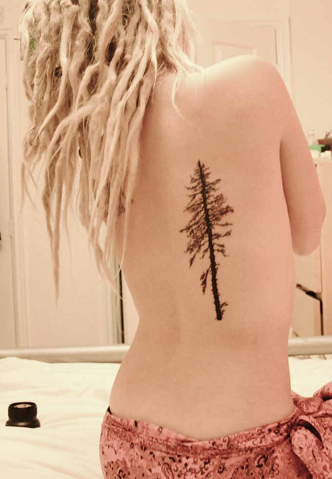 RED REIDING HOOD: Pinterest pine tree tattoo back dreadlocks ink inspiration