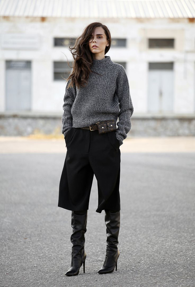 RED REIDING HOOD: Fashion blogger wearing culottes street style over the knee boots alexander wang sofia shoes