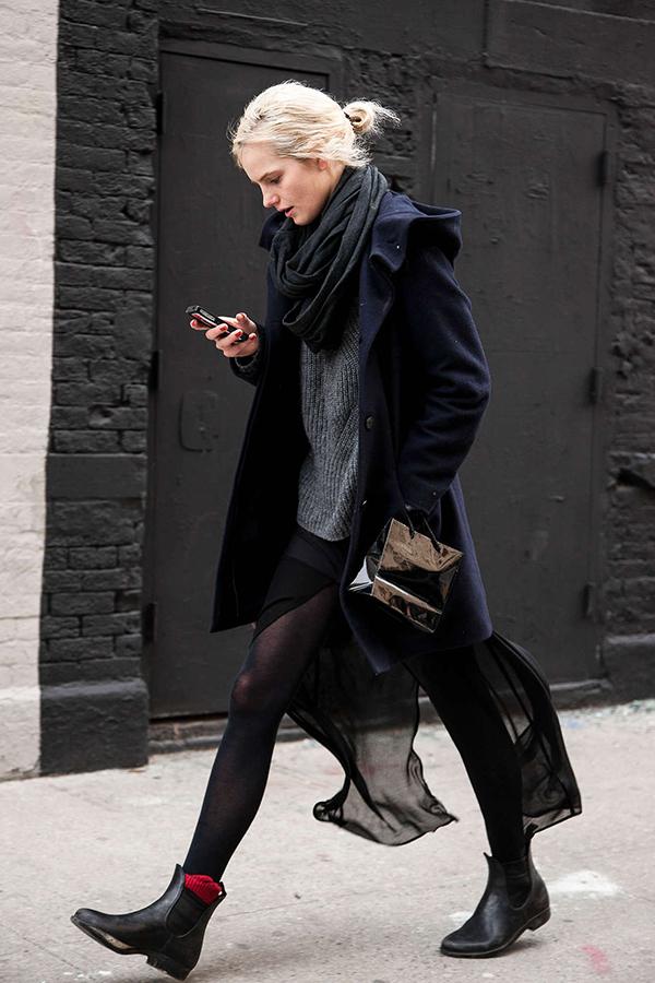 RED REIDING HOOD: Fashion blogger wearing chelsea boots socks street style blue coat