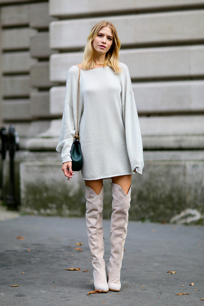RED REIDING HOOD: Fashion blogger wearing soft pink over the knee boots street style jumper dress