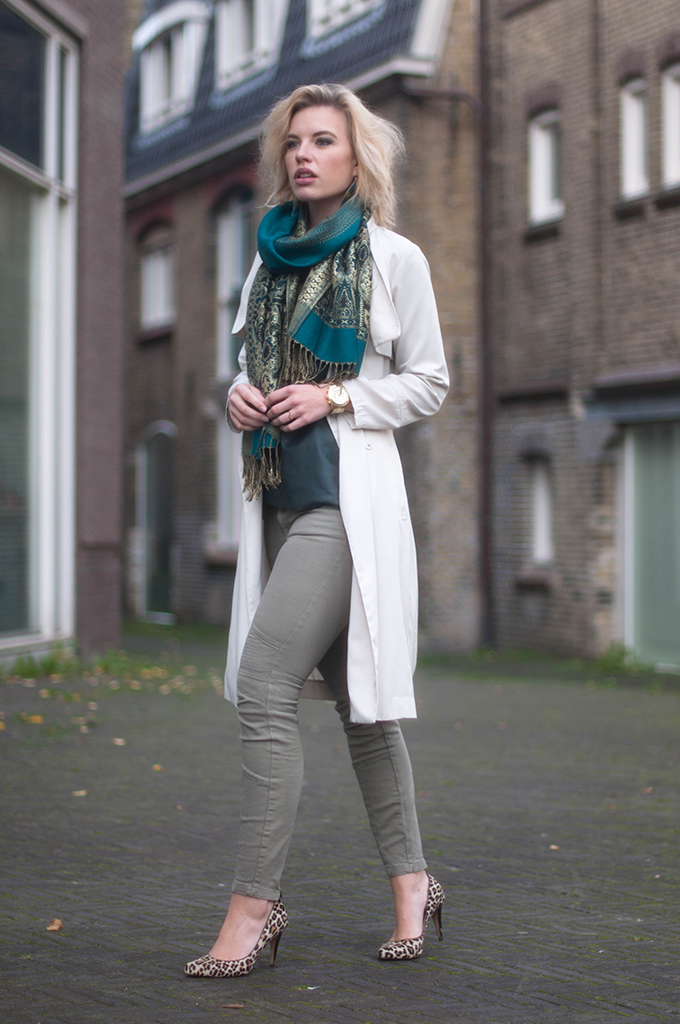 RED REIDING HOOD: Fashion blogger wearing cream trench coat street style cargo pants model off duty pashmina scarf