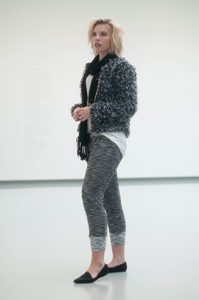 RED REIDING HOOD: Fashion blogger wearing fluffy cardigan isabel marant street style jogger pants loafers grey outfit