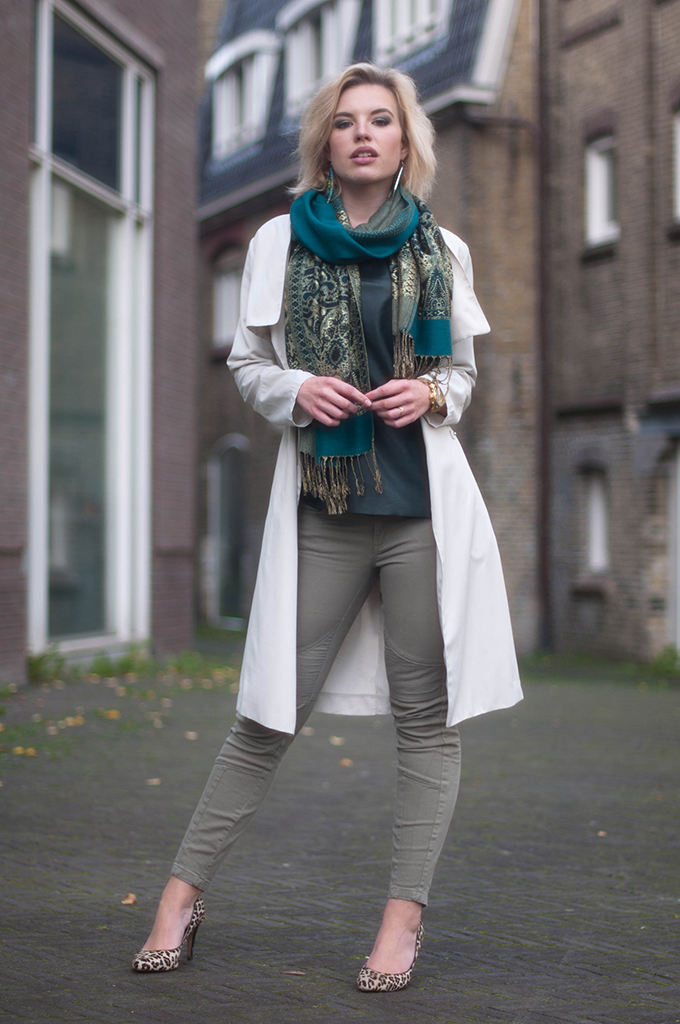 RED REIDING HOOD: Fashion blogger wearing pashmina scarf street style trench coat model off duty leopard ponyhair heels