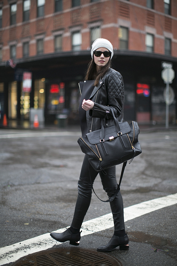RED REIDING HOOD: Fashion blogger new york H&M leather jacket alexander wang chelsea boots