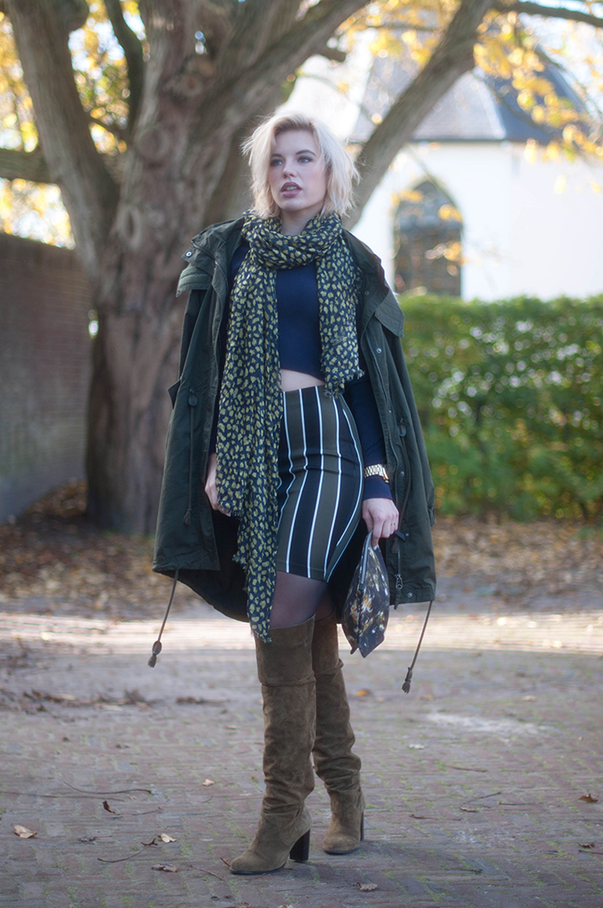 RED REIDING HOOD: Fashion blogger wearing Monki parka coat street style topshop over the knee boots high waisted skirt crop top