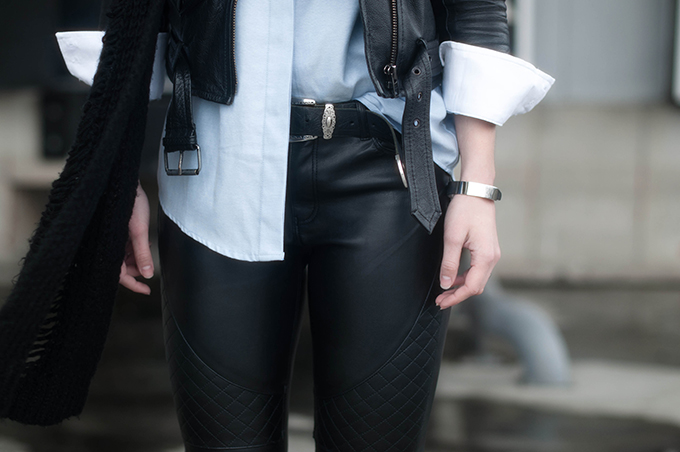 RED REIDING HOOD: Fashion blogger wearing quilted leather pants H&M street style oxford shirt cowboy western belt outfit details leather jacket