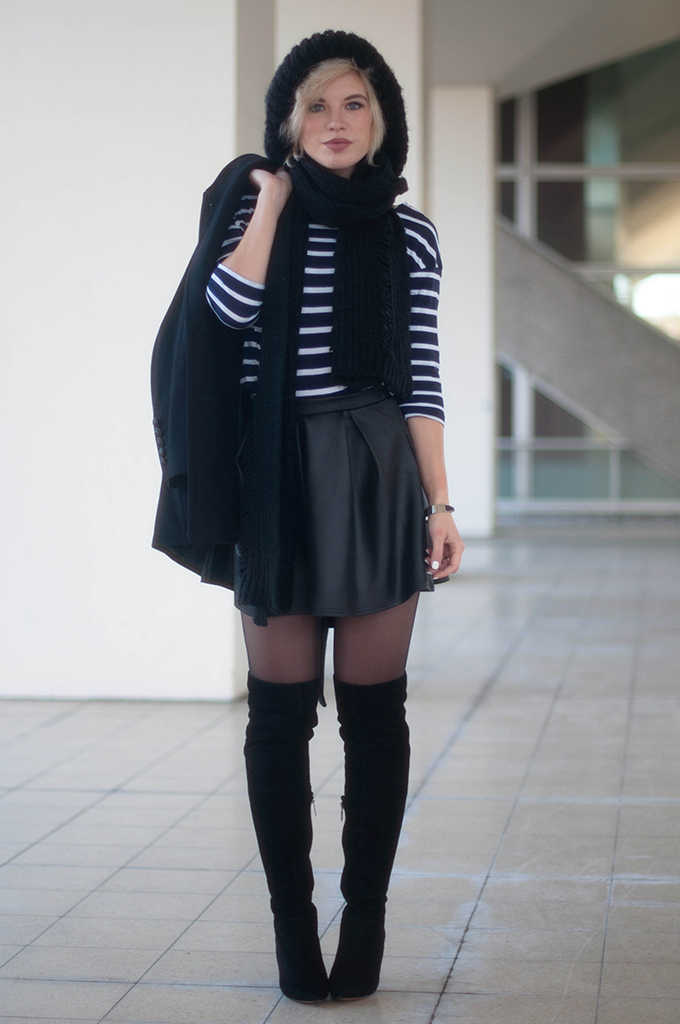 RED REIDING HOOD: Fashion blogger wearing boohoo skater skirt over the knee boots street style oversized knitted beanie outfit