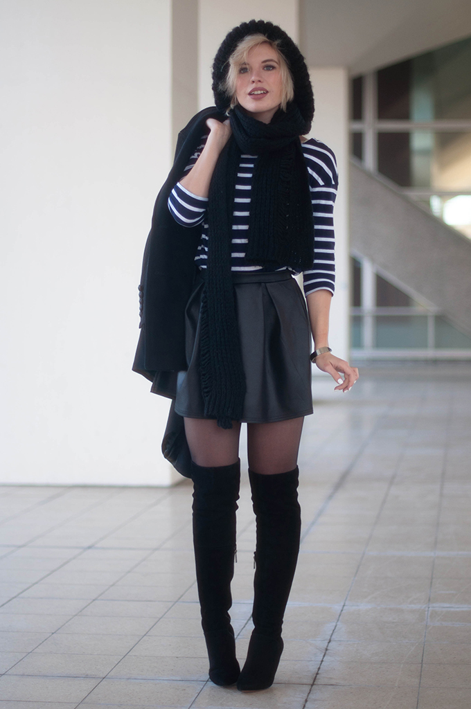 RED REIDING HOOD: Fashion blogger wearing otk boots street style skater skirt boohoo.com outfit striped top chunky knit beanie look