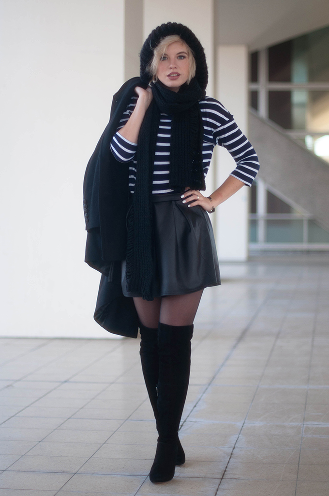 RED REIDING HOOD: Fashion blogger wearing over the knee boots duo boots vespa outfit skater skirt street style striped tee zara big beanie