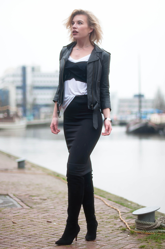 RED REIDING HOOD: Fashion blogger wearing pencil bodycon skirt street style over the knee boots outfit bustier top bralet pinstripe look