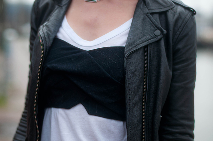 RED REIDING HOOD: Fashion blogger wearing River Island pinstripe bralet top over t-shirt leather jacket outfit details
