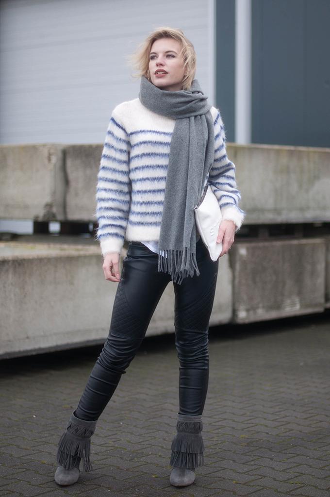 RED REIDING HOOD: Fashion blogger wearing black leather biker pants street style H&M trend mohair jumper kendall jenner model off duty look acne studios canada wool scarf