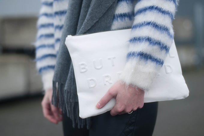 RED REIDING HOOD: Fashion blogger wearing stressed but well dressed zara clutch street style mohair jumper H&M trend