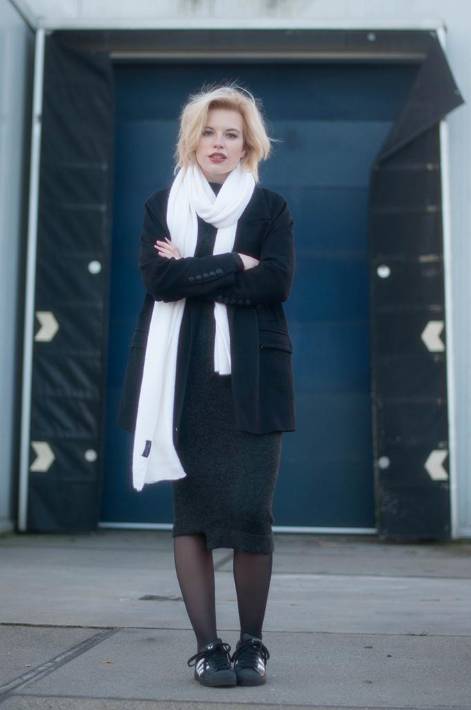 RED REIDING HOOD: Fashion blogger wearing adidas superstar sneakers street style knit dress zara