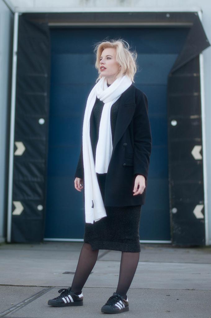 RED REIDING HOOD: Fashion blogger wearing zara midi dress outfit adidas superstar sneakers white long scarf