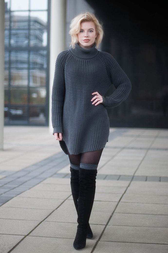 RED REIDING HOOD: Fashion blogger wearing over the knee boots high socks outfit hope grand sweater turtleneck dress elin kling street style
