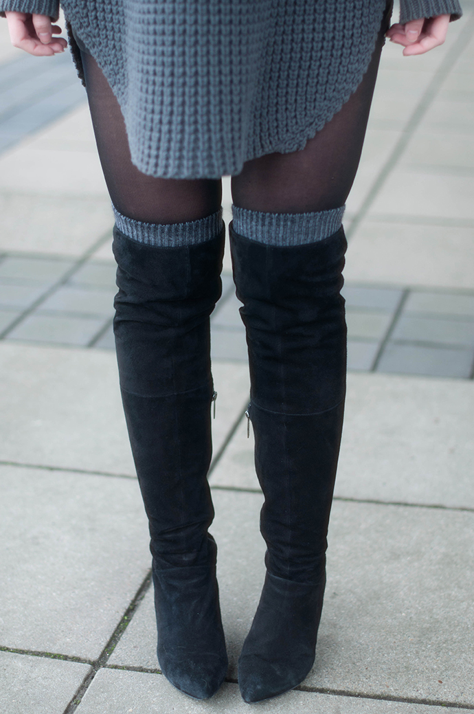RED REIDING HOOD: Fashion blogger wearing hope grand sweater dress tights over the knee boots outfit details high socks